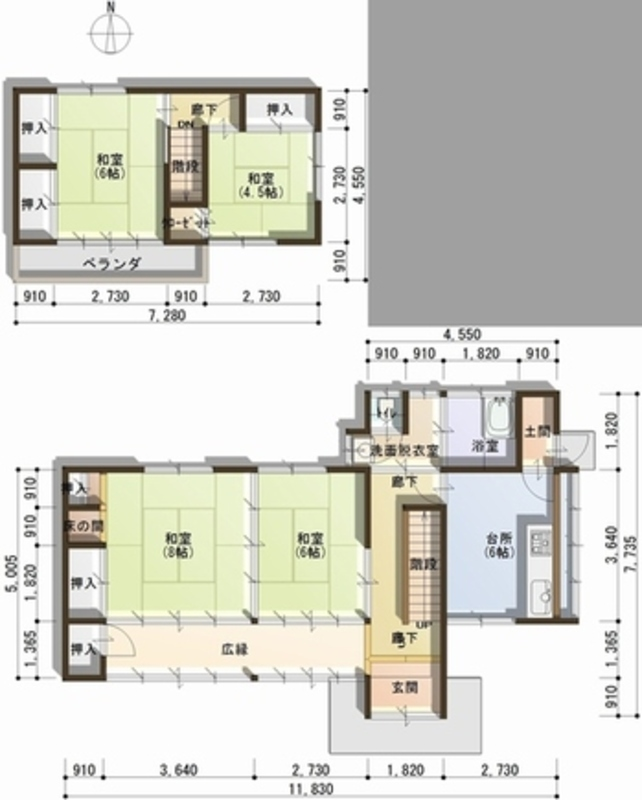 1 floor · 2-floor plan view